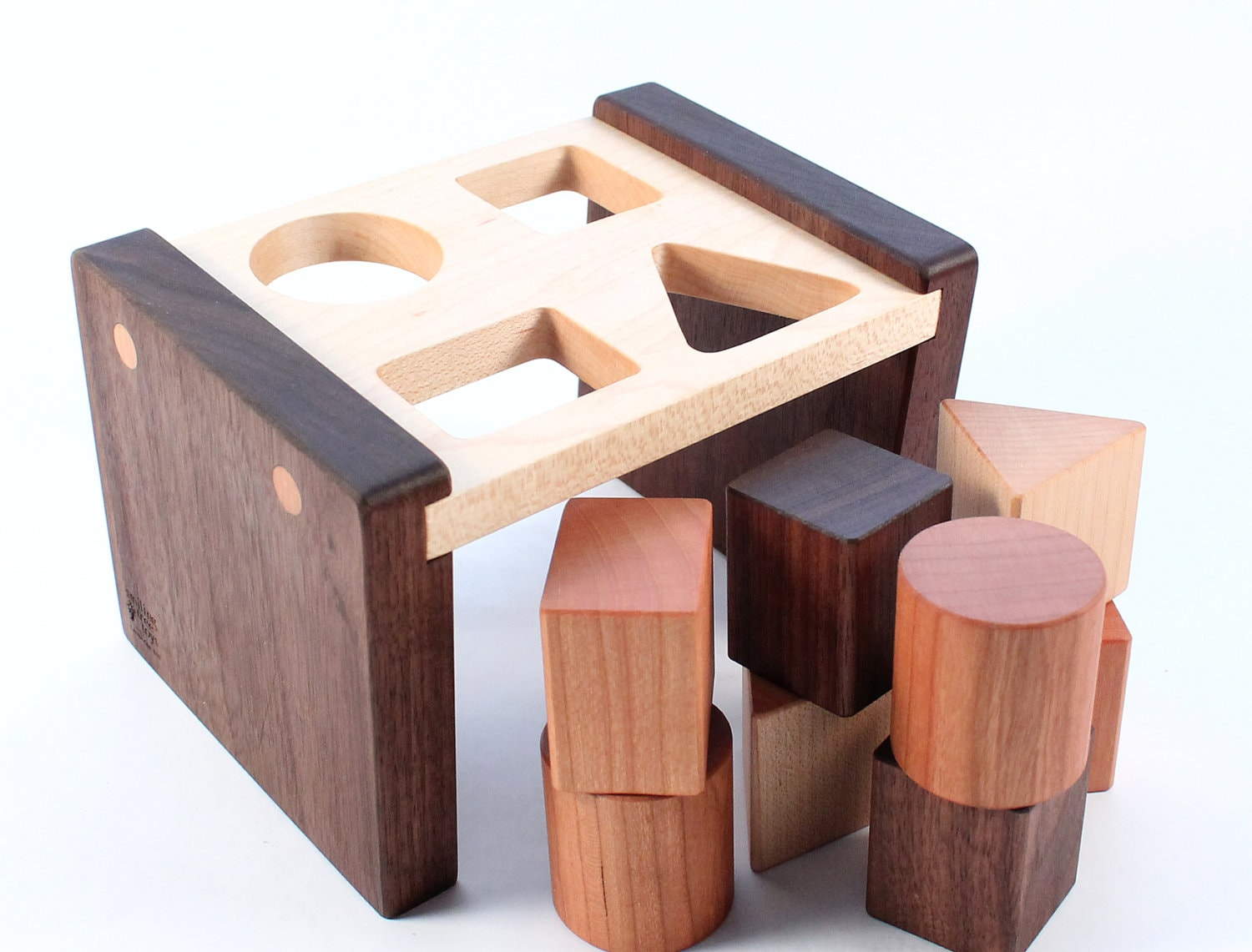 wooden shape sorter toy - a natural and organic educational wood toy, learning fun for baby and toddler - SmilingTreeToys