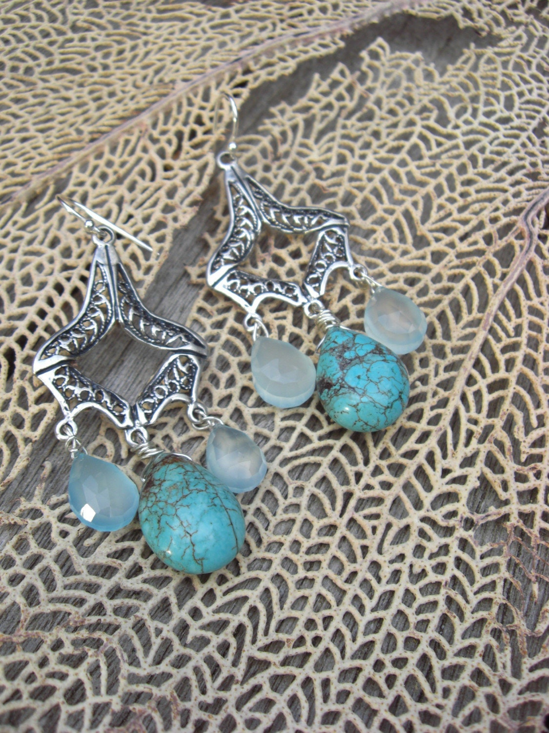 OCEANIA CHANDELIER EARRINGS, TURQUOISE, STERLING SILVER, BLUE CHALCEDONY