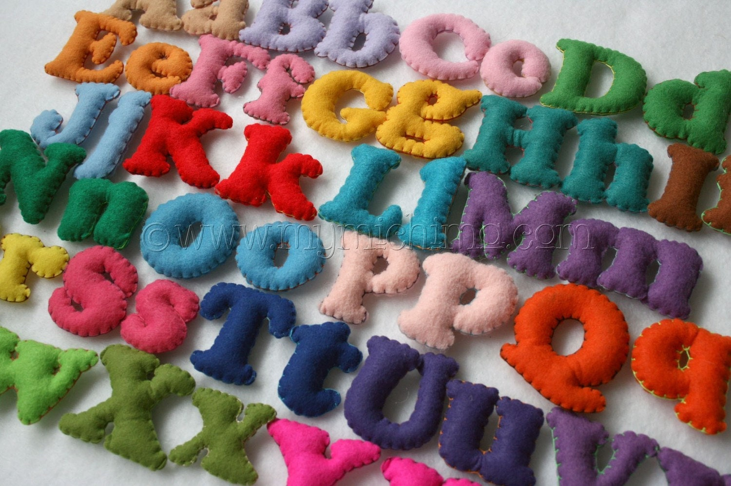 Stuffed Felt Alphabet Letter Set in a Drawstring Bag - Mixed Upper and Lower Case Set