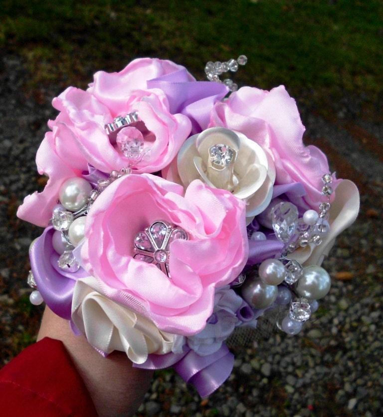 Brooch Wedding Bouquet Bridal Bouquet Pearls Crystals Fabric Flower