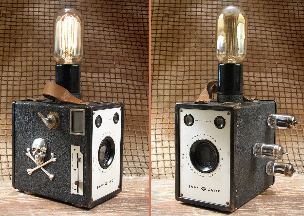 Vintage Steampunk Agfa Camera Lamp w Squirrel Cage 30W Edison Bulb & Vacuum Tubes - DroxDesigns