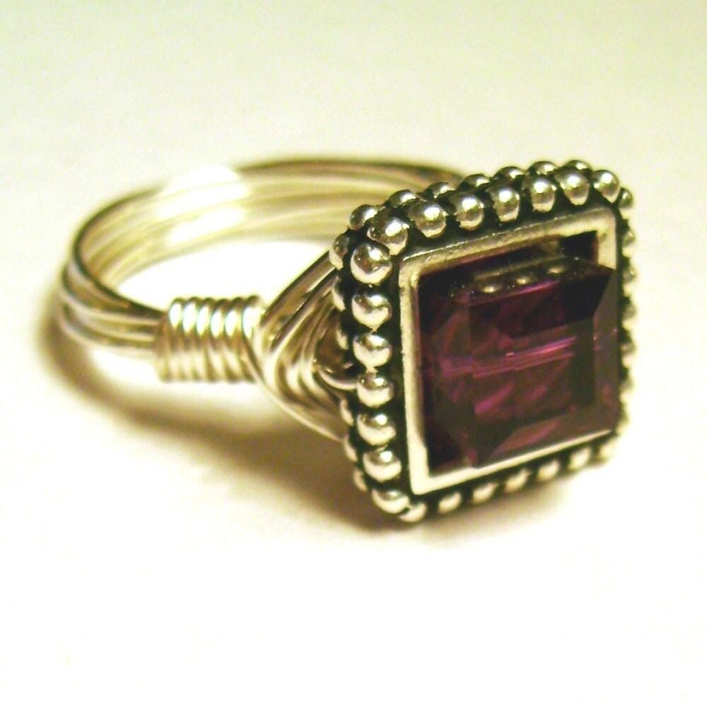 Square Swarovski Crystal Ring