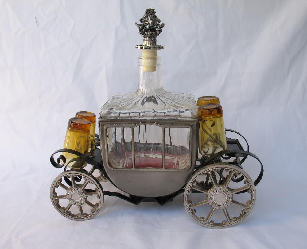 vintage barware liquor decanter musical carriage by ifindubuy