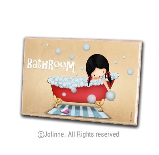 Bathroom Door Sign Personalized Bath Door Plaque Kids By