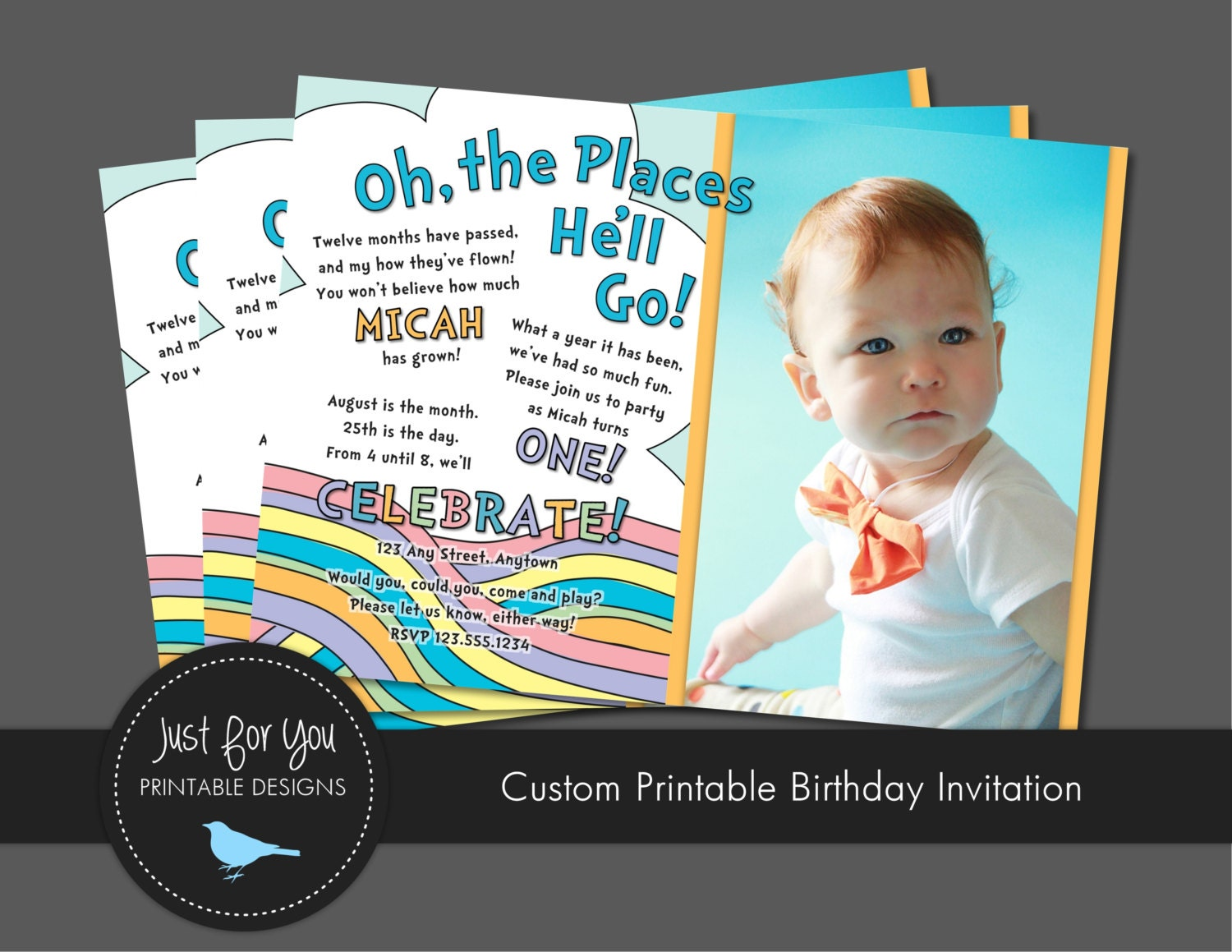 First Birthday Invitation Oh The Places By 4uprintabledesigns