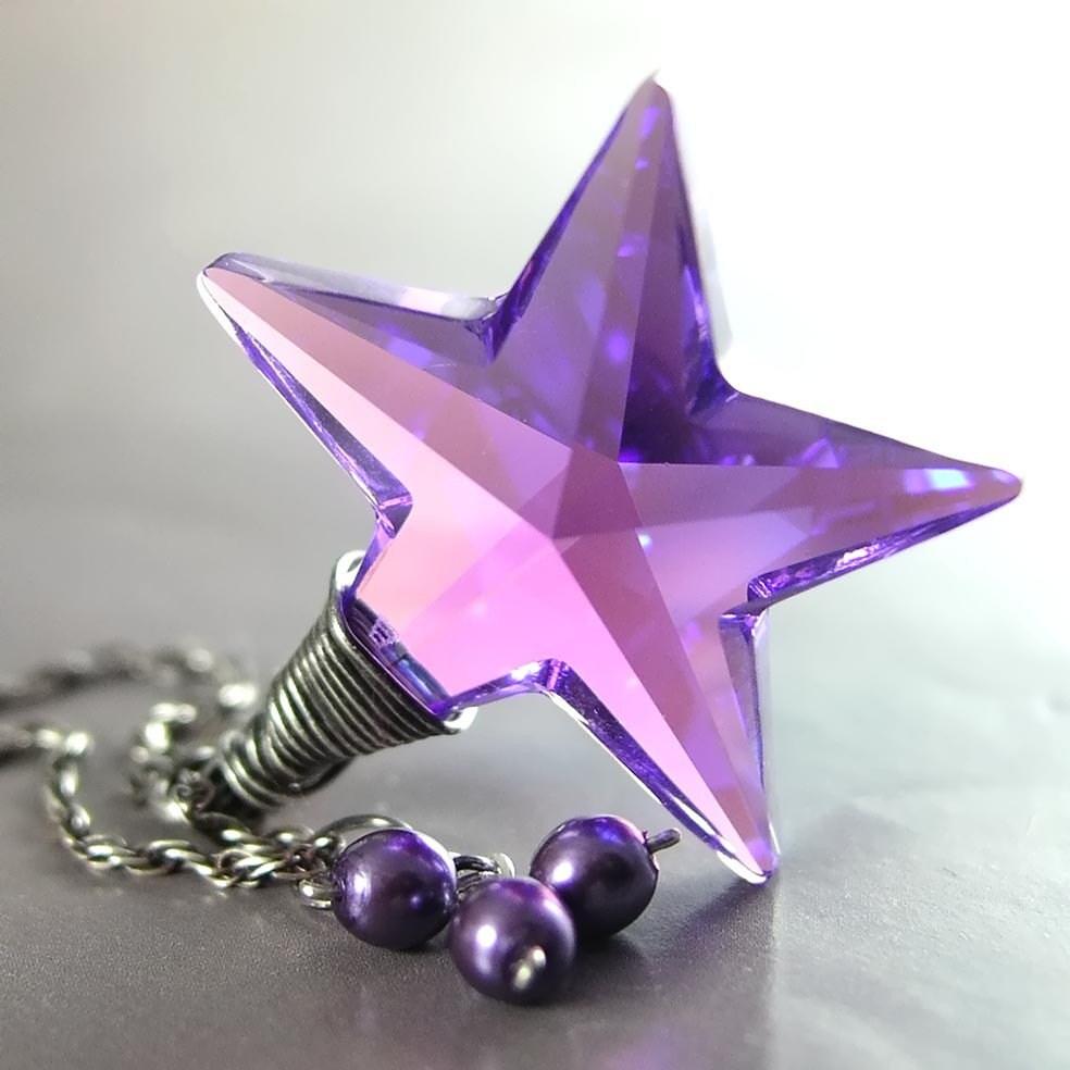 PURPLE STAR Necklace, Swarovski Amethyst Violet Aurora Crystal, Sterling Silver