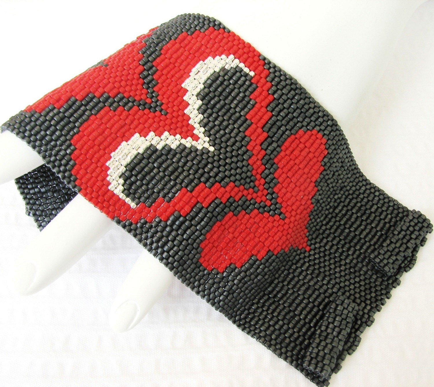 Modern Bargello Hearts Cuff in Your Custom Color Palette  (2415)