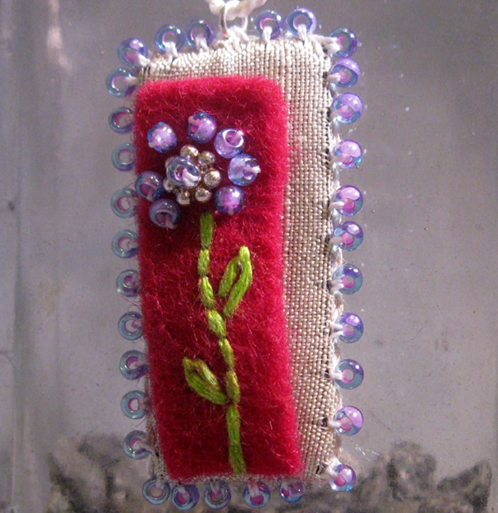 Flower--Silk and Felt Embroidered Pendant