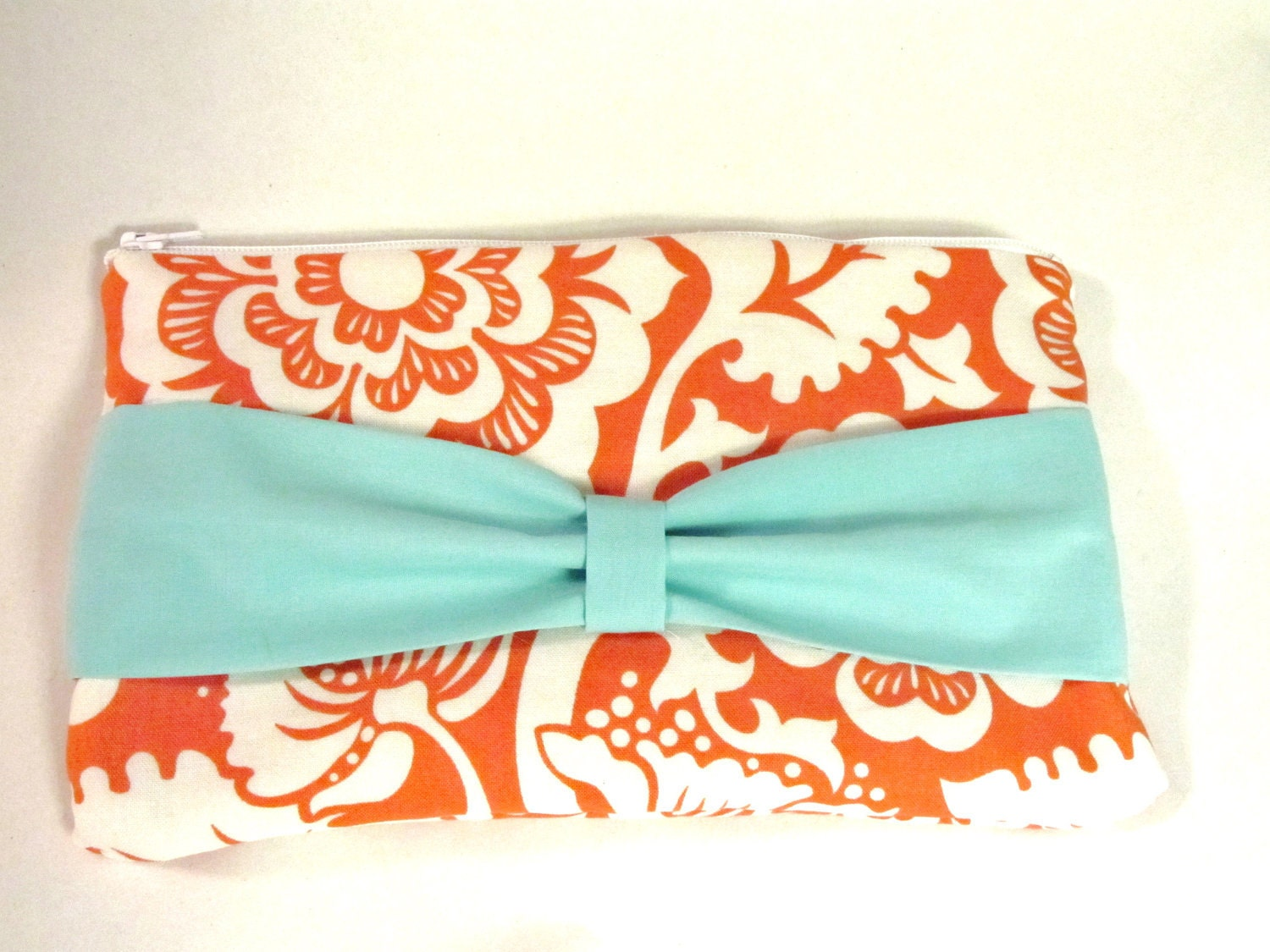 Ready to Ship- Orange and Teal Zippered Pouch