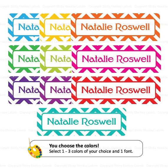 Mini Kids Labels - Chevron (Pick Your Colors) - 36 Labels