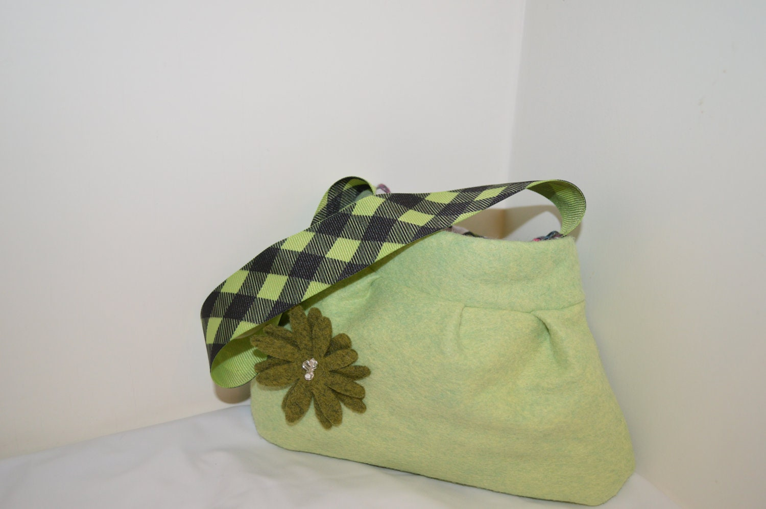Little Girl Green Felt Purse- Owl Lining