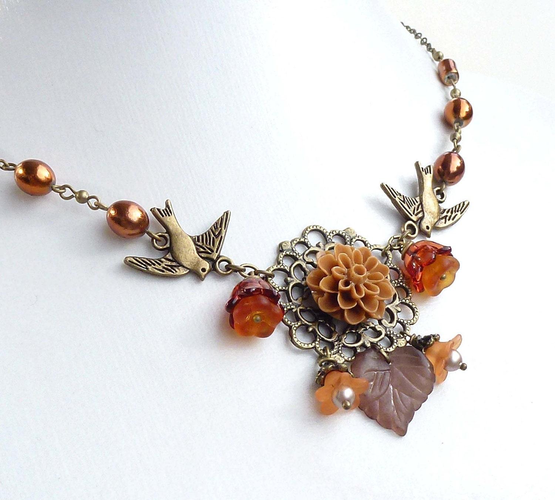 Lucite flower necklace, autumn antique bronze, mustard rust brown, fall jewelry