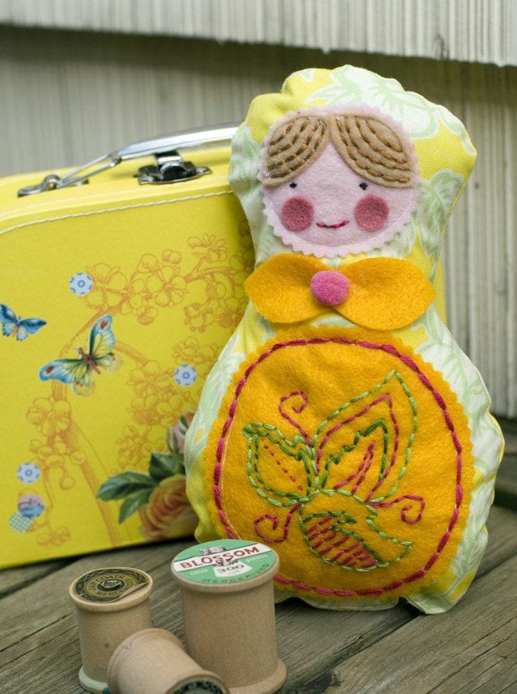 Fabric matryoshka nesting doll - Renata