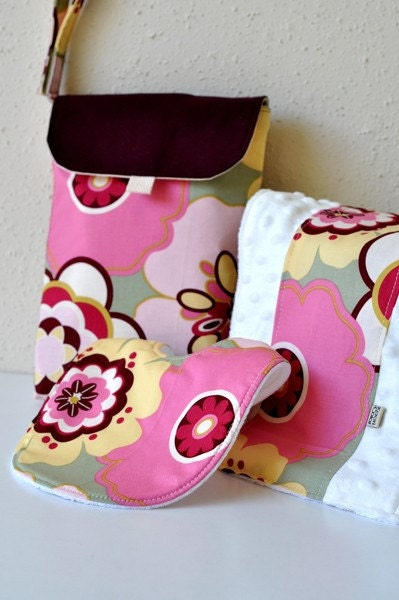 Diaper and Wipe Case - Modern Floral in Pink