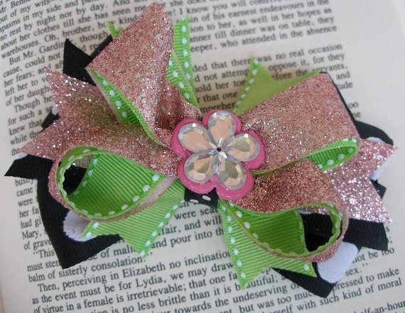 Glitter and Glamour Pink Green Black White Boutique Hair Bow