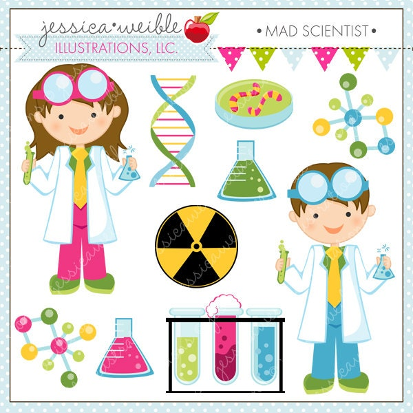 Mad Scientist Cute Digital Clipart for by JWIllustrations ...