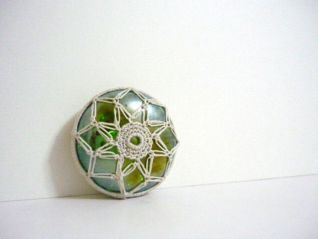 Sun - Crochet Lace Glass Marble - Green & Beige - Febystan