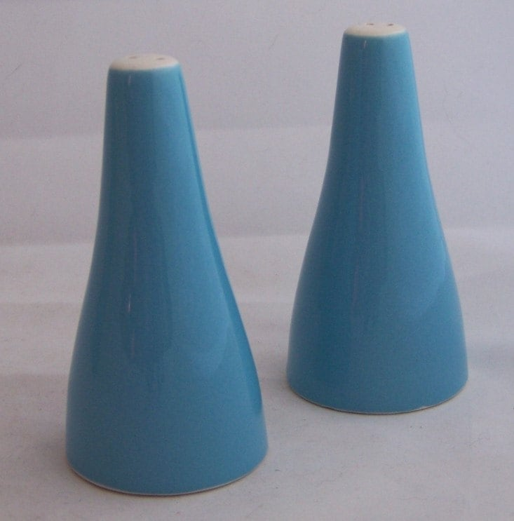Pair of Vintage Mid Century Modern Porcelain Robins Egg Blue Salt and Pepper Shakers