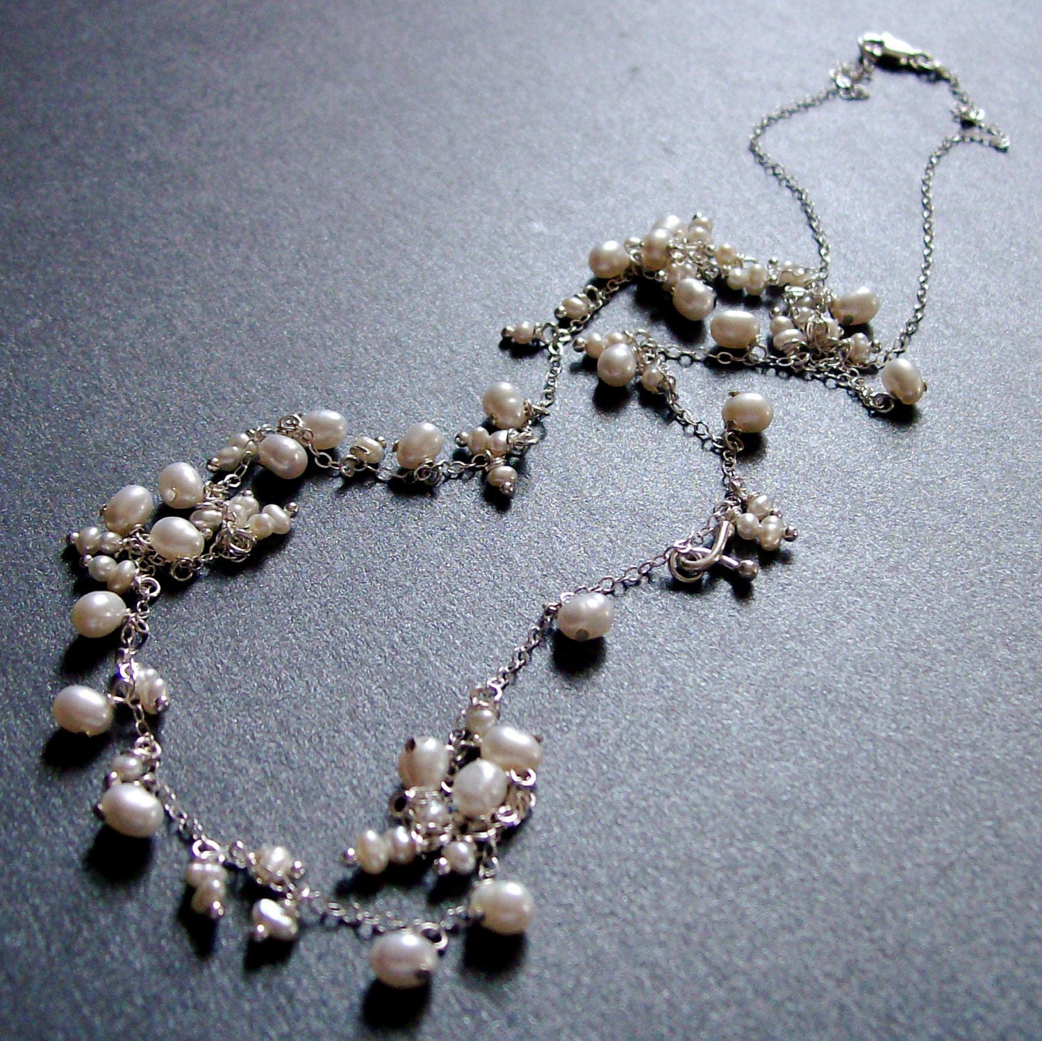 Caviar - Sterling Silver Freshwater Pearl 30 Inch Necklace