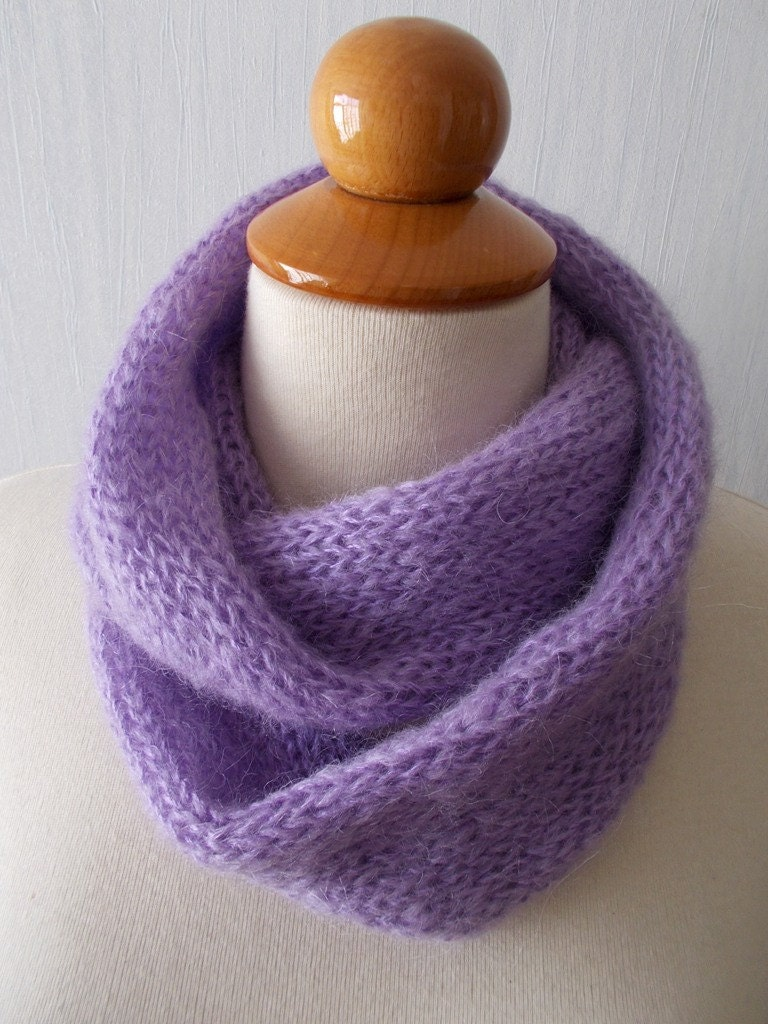 Tube Cowl Knitting Pattern : Knitted Infinity Tube Cowl Scarf Circular In Lilac by LaimaShop