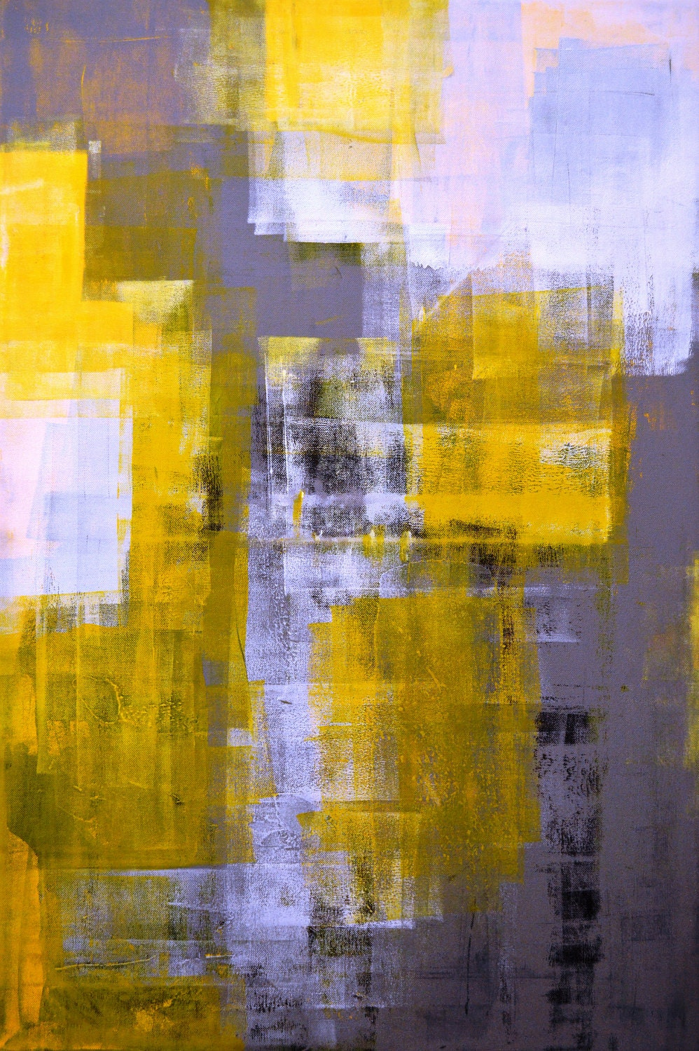 Large acrylic abstract art painting yellow black by t30gallery for White paint going yellow