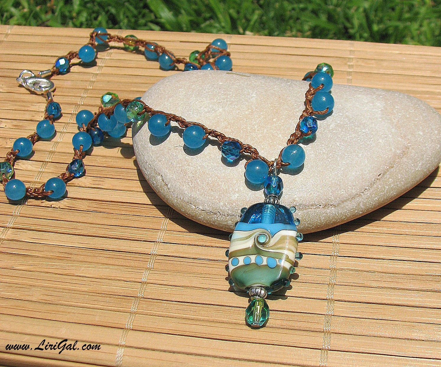 Handmade Lampwork Beaded Crocheted Necklace
