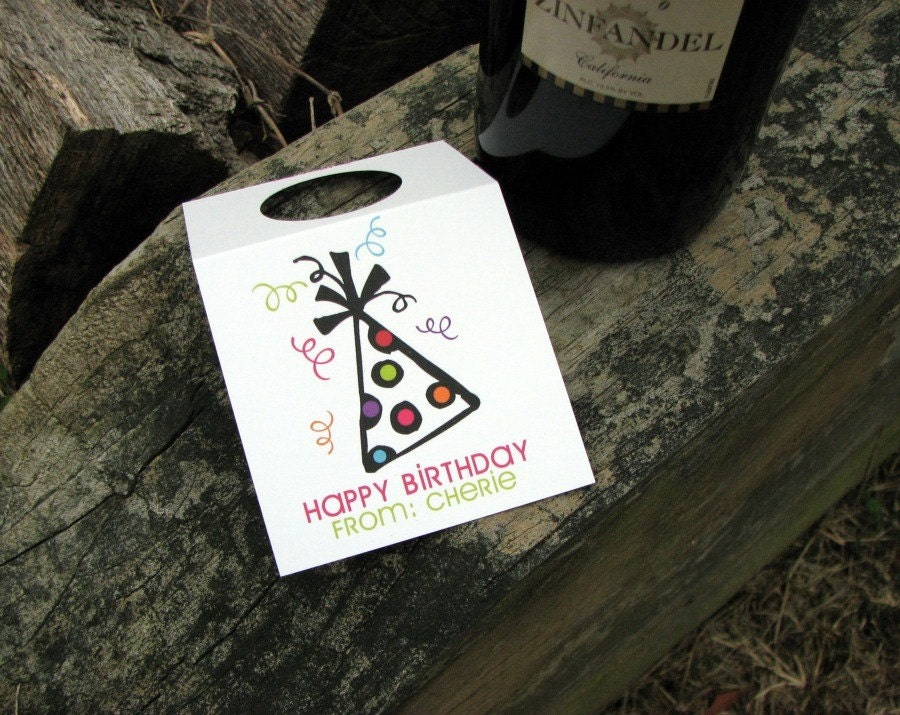 Happy Birthday Personalized Set of Wine Tags