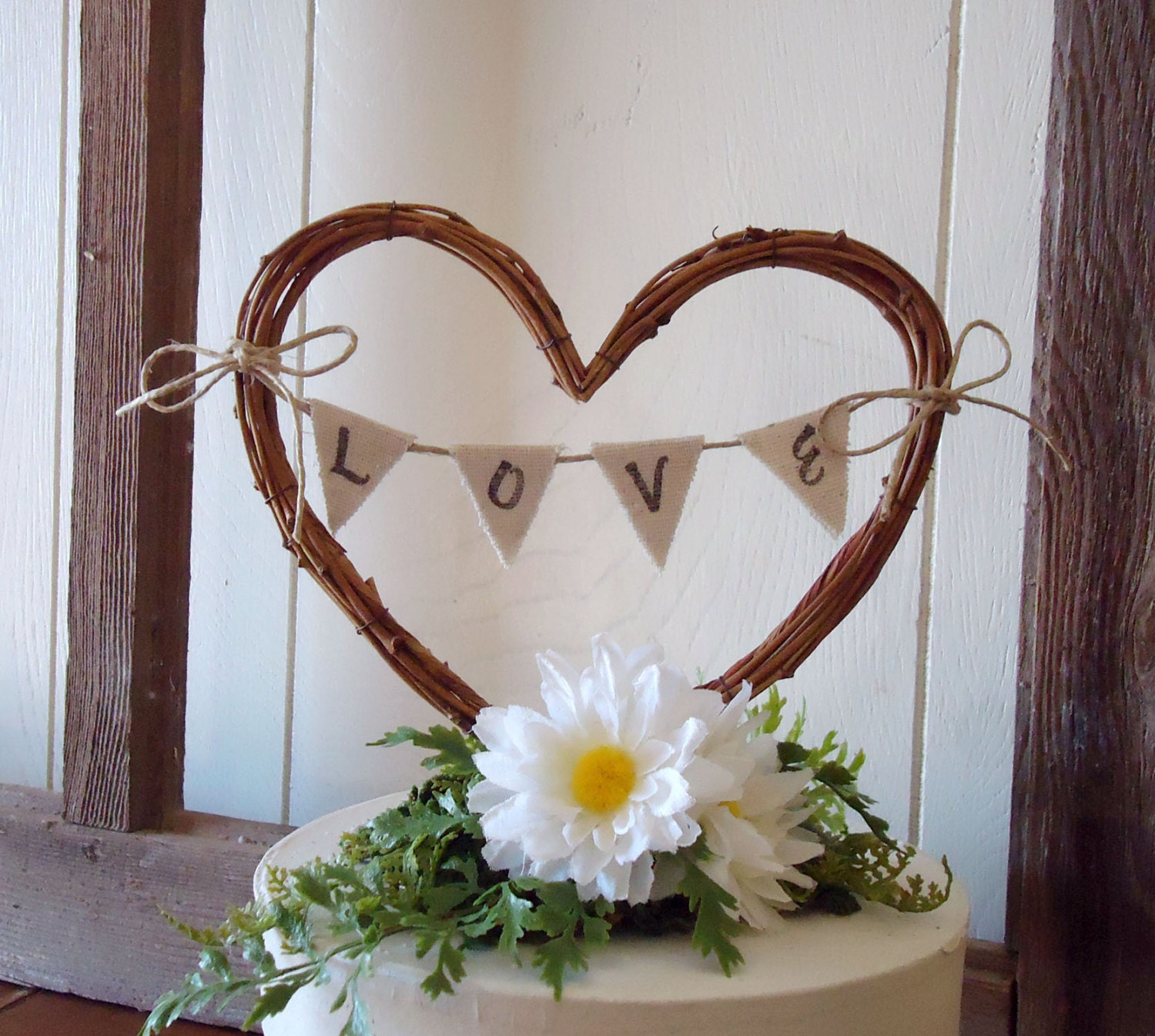 Wedding Cake Topper Rustic Heart With LOVE By AprilHilerDesigns