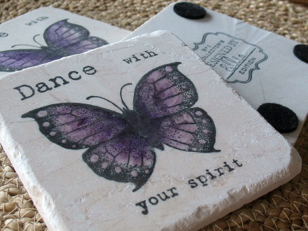 Butterfly Coasters, Dance with your Spirit, Set of 4, Ready to Ship