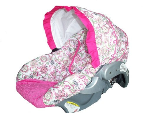 items similar to baby car sear cover infant car seat cover slip cover pink paisley fuchsia. Black Bedroom Furniture Sets. Home Design Ideas