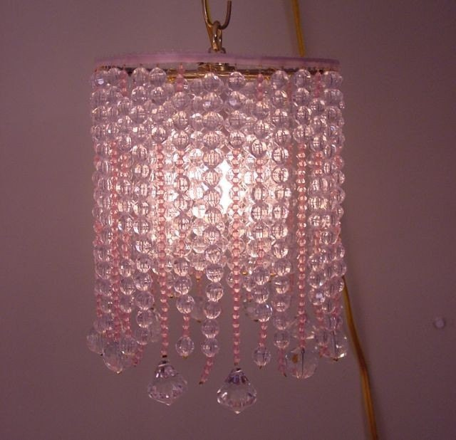 beaded l chandelier pink acrylic by