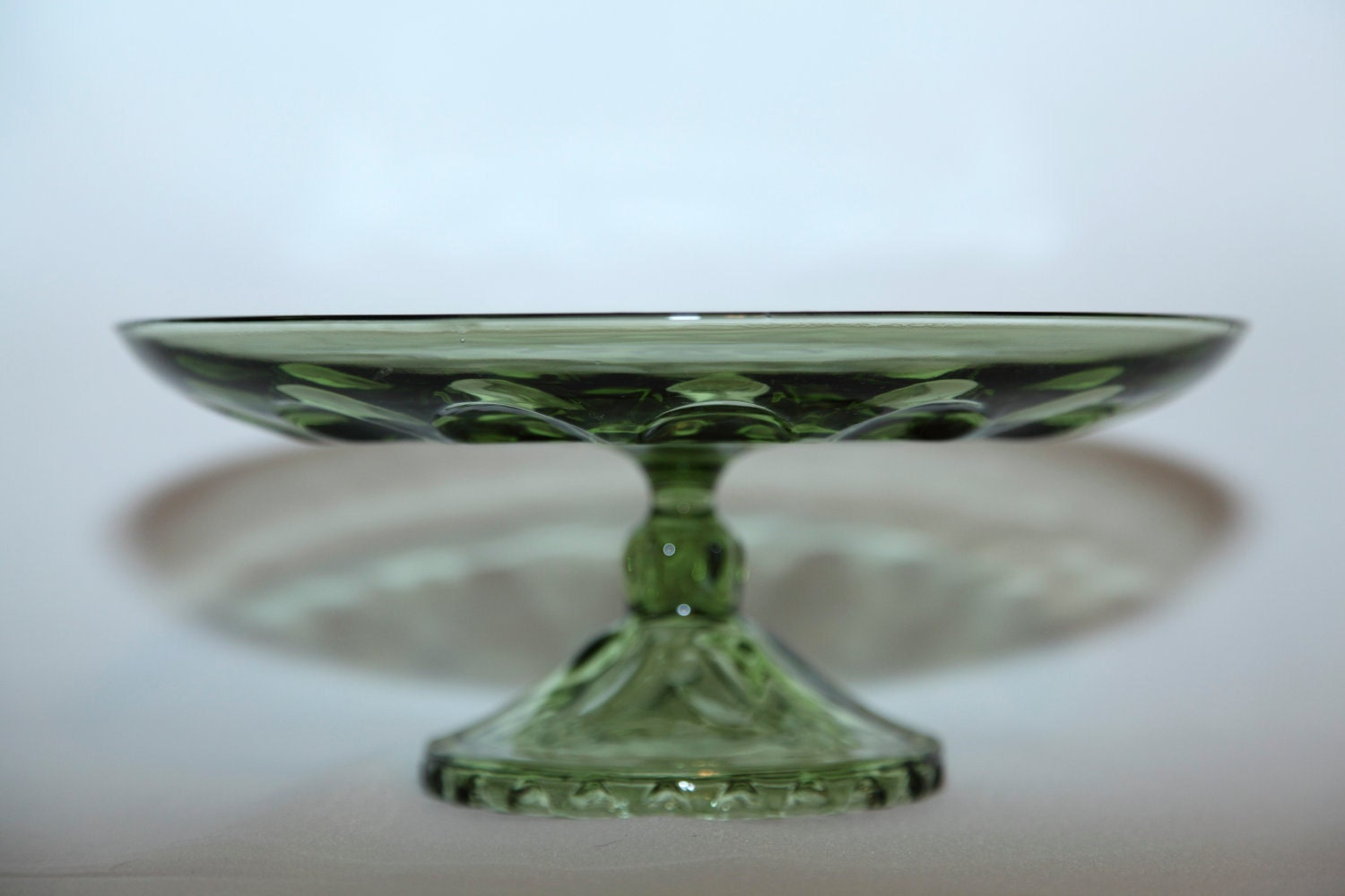 Vintage Green Glass Cake Stand by BullaDesigns on Etsy