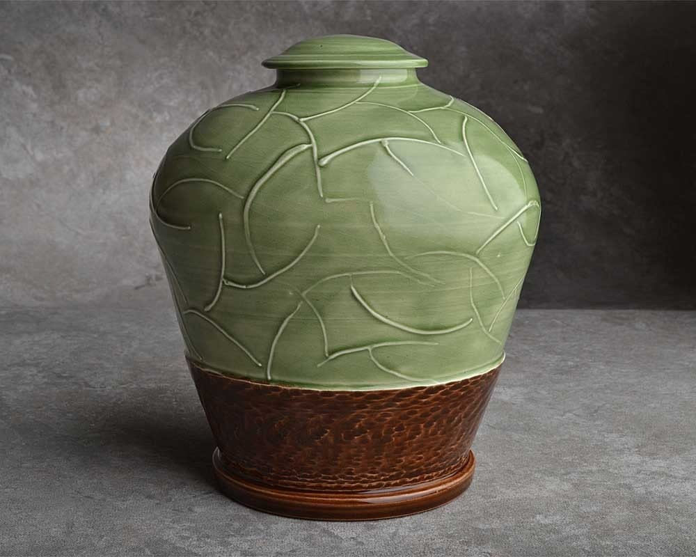 Green & Brown Wheel Thrown Lidded Jar by Symmetrical Pottery
