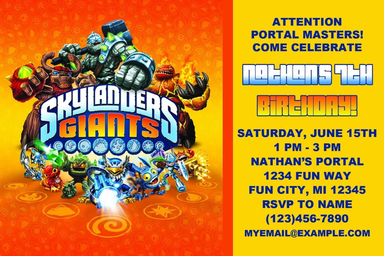 Skylander Printable Birthday Invitations