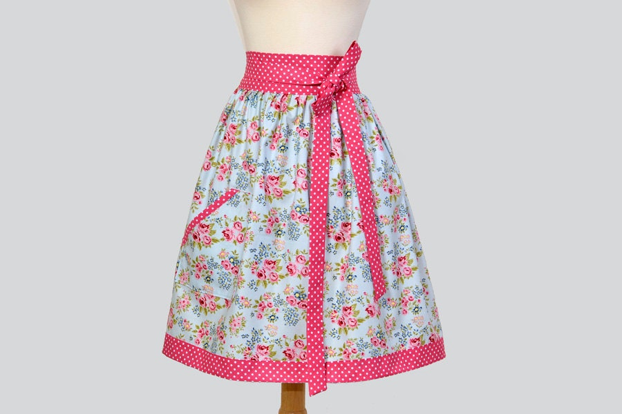 Waist Apron - Half Apron for Hostes or Everyday in Vintage Roses of Pink on Soft Blue with Polka Dot Trim