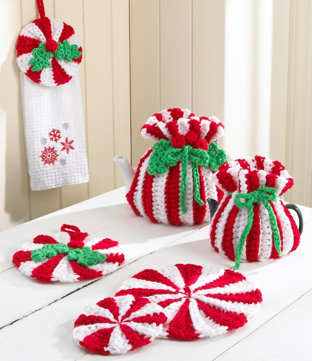 Crochet Pattern For Peppermint Afghan : Peppermint Kitchen Set Crochet Pattern PDF by Maggiescrochet