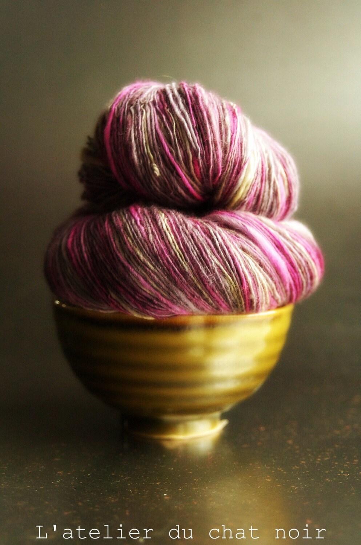 GERMAINE handpainted merino tussah silk handspun yarn 586 yards