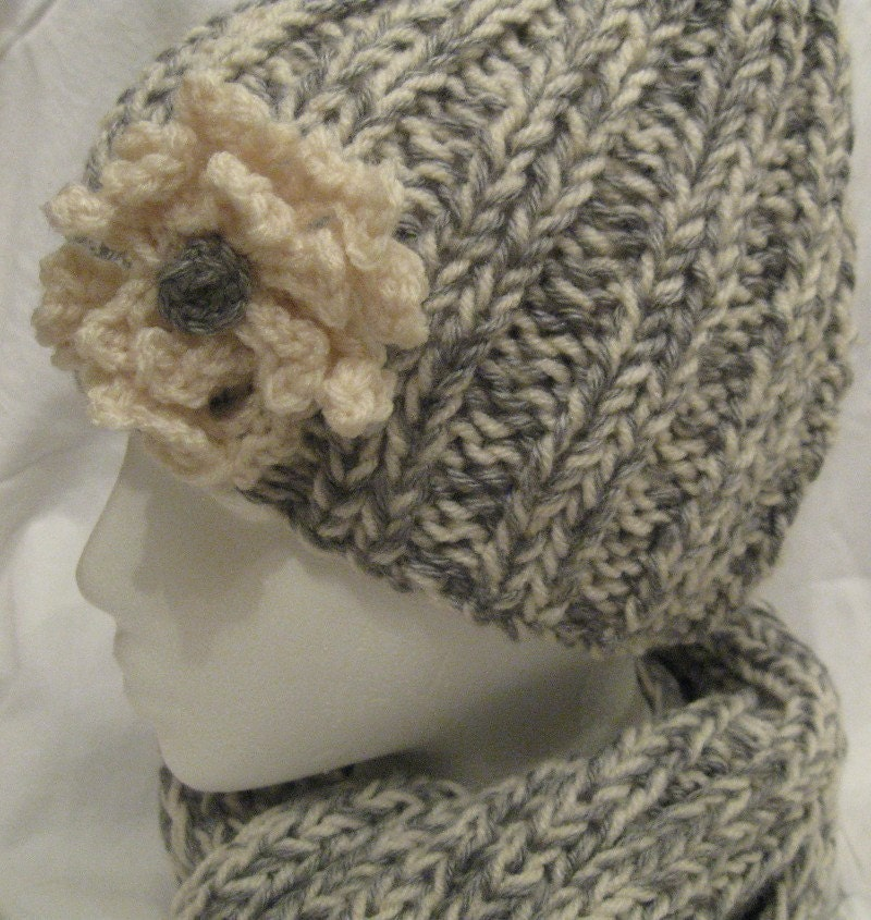 Gray and Winter White Scarf and Hat