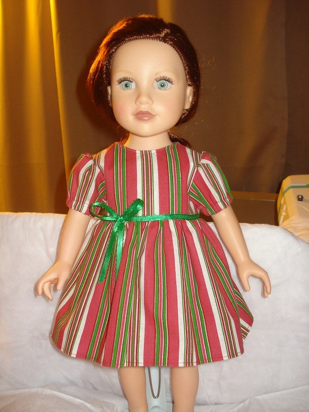 Christmas dress in red, green and white candy cane stripes for American Girl Dolls - ag113