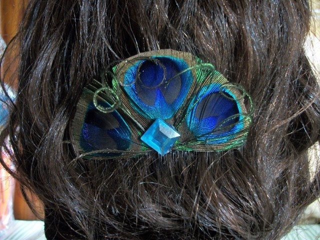 Peacock Hair Comb With Turquoise Rhinestone