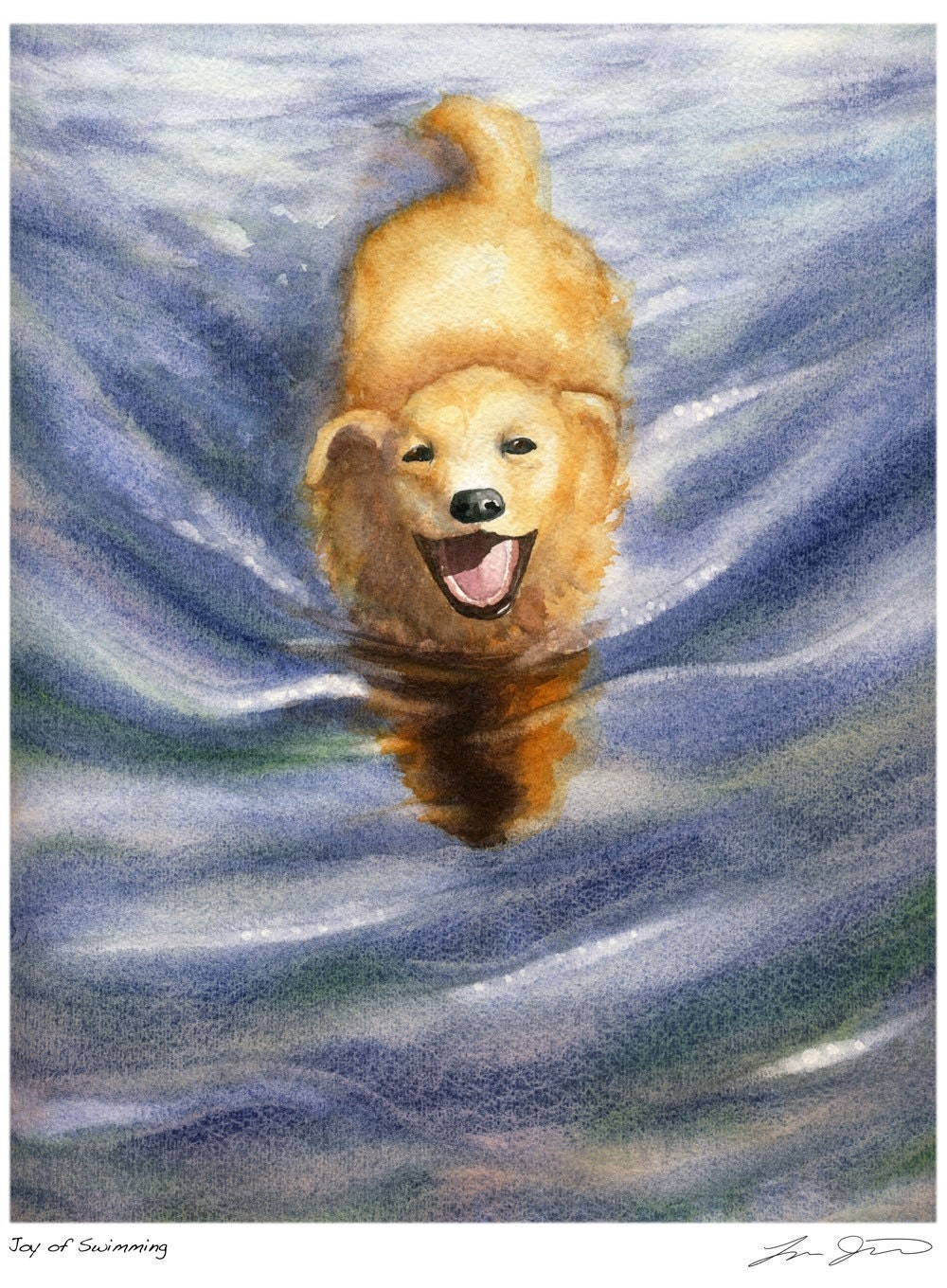Joy of  Swimming - Golden Dog Print