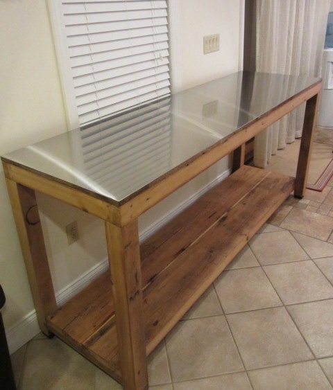 ... Steel & Reclaimed Wood Kitchen Work Table Island, Counter Height
