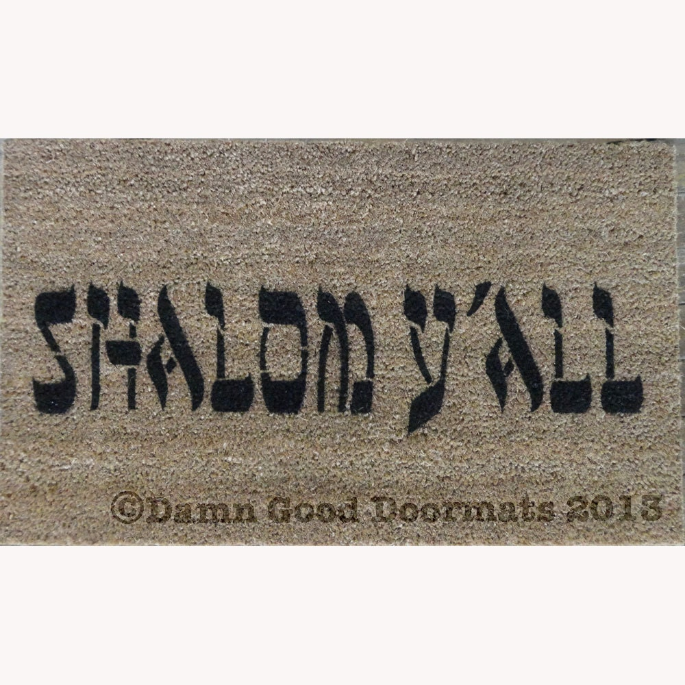 Shalom y 39 all funny jewish novelty welcome by damngooddoormats - Novelty welcome mats ...