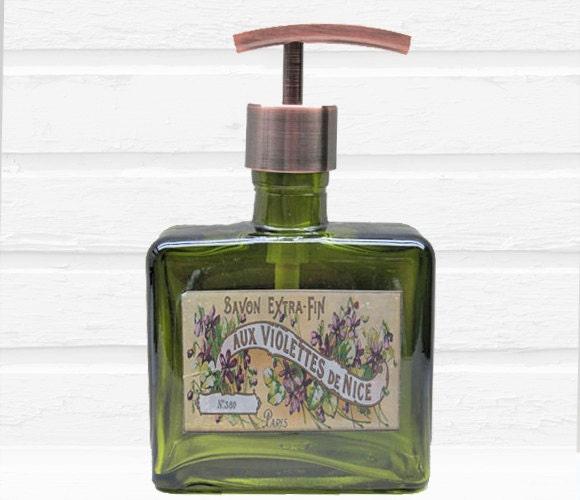 Glass Soap Dispenser Vintage French Violet Soap By