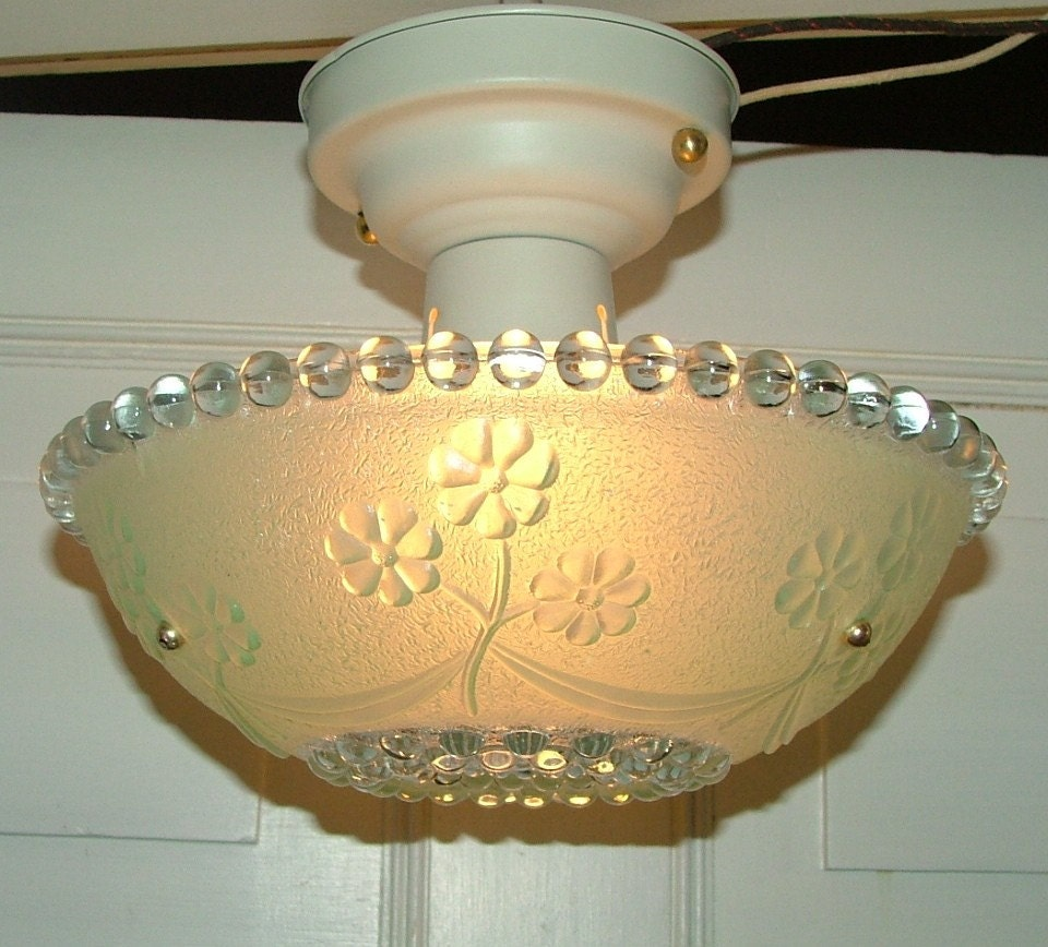 Antique Lighting Hanging Glass Light Shade W Fixture By AnnsLights