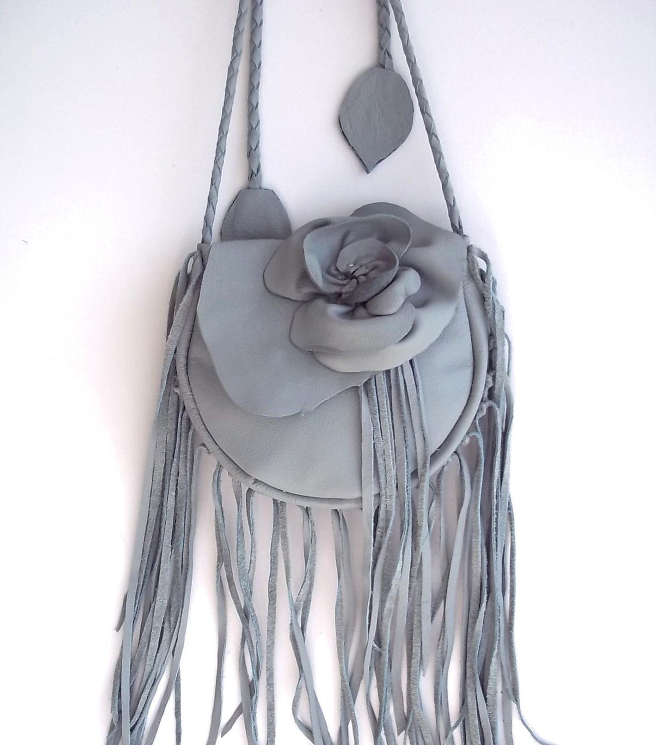 blue leather handbag, messenger, hip bag  with 'rose' and fringe
