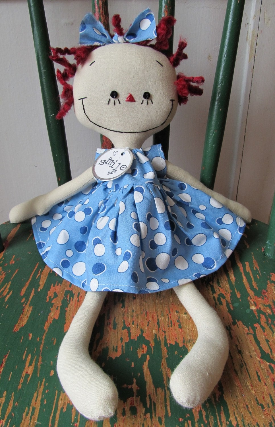 Annie in Blue and White Polka Dots handmade cloth rag doll