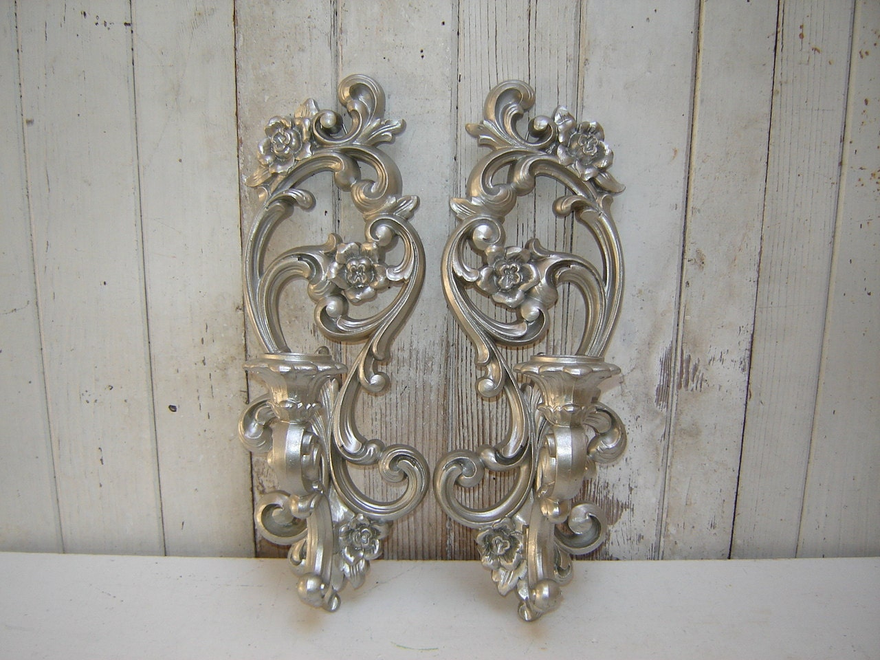 Wall Candle Sconces Silver : ornate candle wall sconces 2 painted Silver by WendysVintageShop