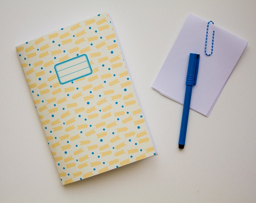 Patterned Notebook - School supplies - Yellow arrows and blue dots - vertceriseshop