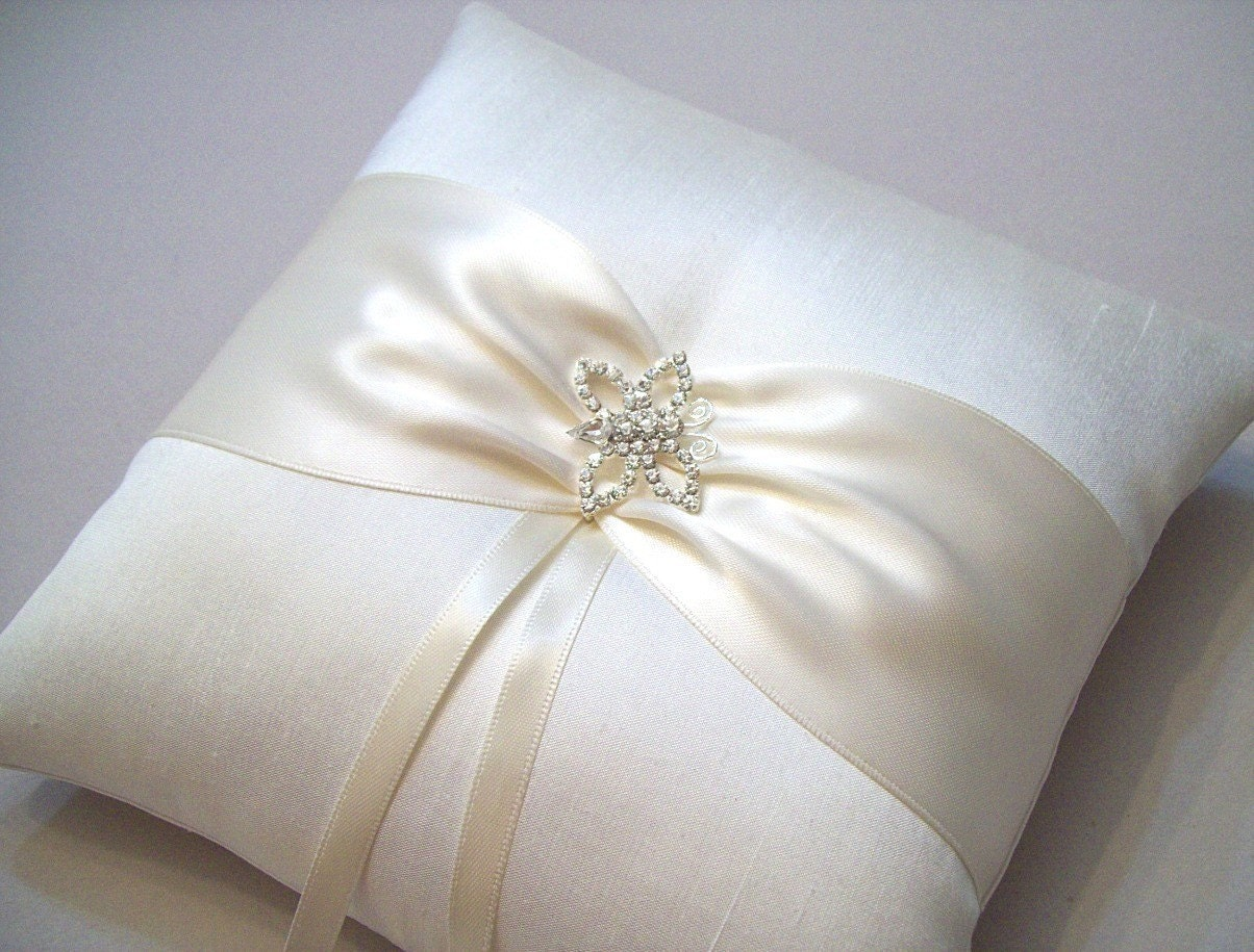 Simply Elegant Butterfly - Ivory on Ivory Silk Ring Bearer Pillow